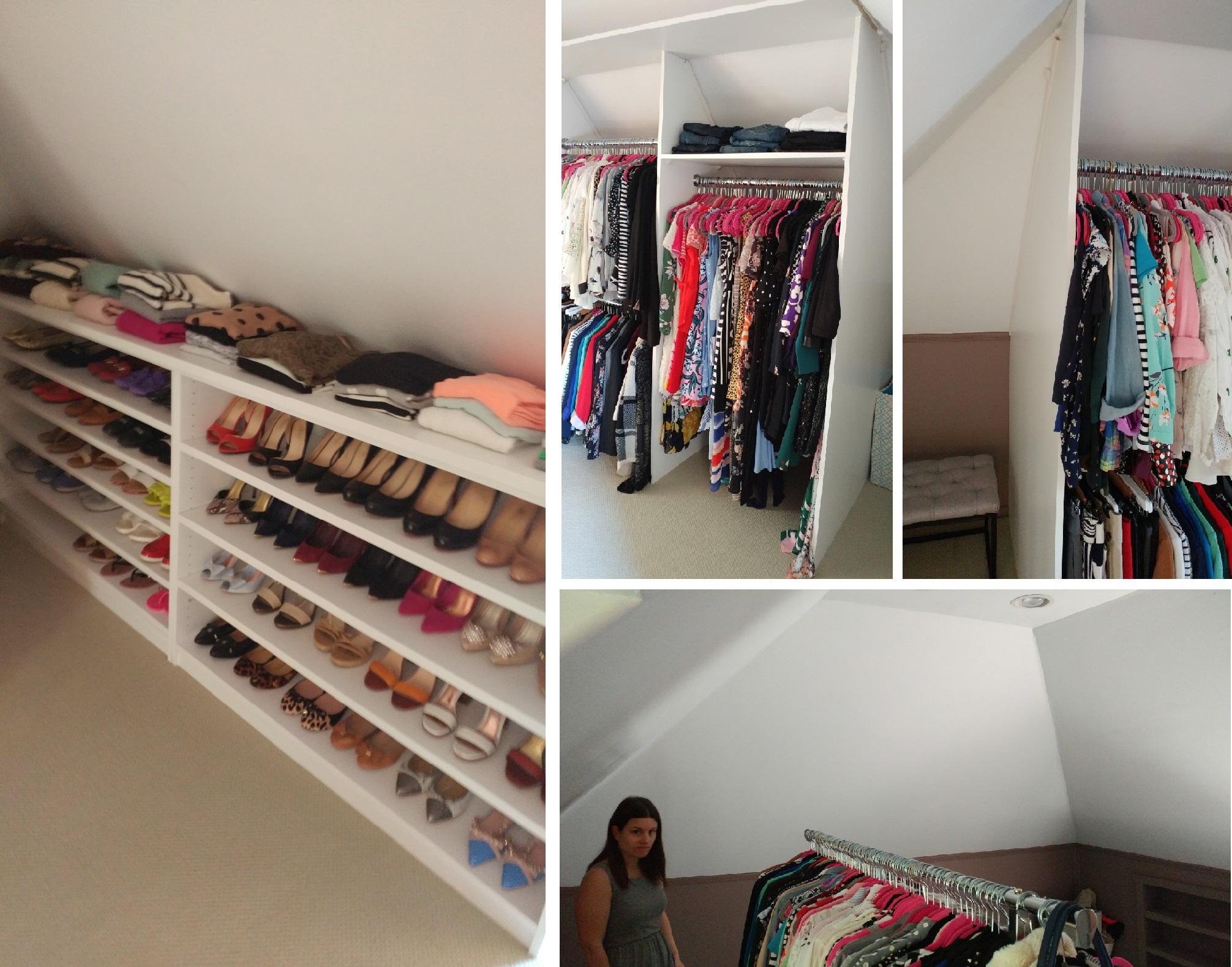 customized walk-in closet in the attic