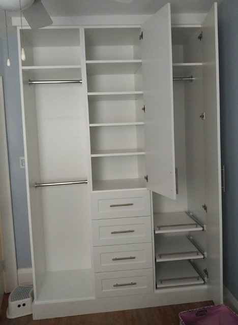 Closet shelving units made by Space Age Closets in Toronto